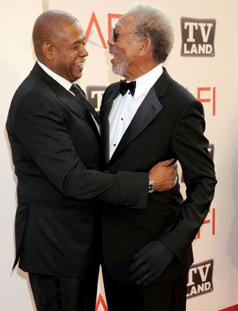 Morgan Freeman gets a congratulatory - AFI Life Achievement Award Picture