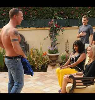 A shirtless Nick approaches The - The Cougar Picture